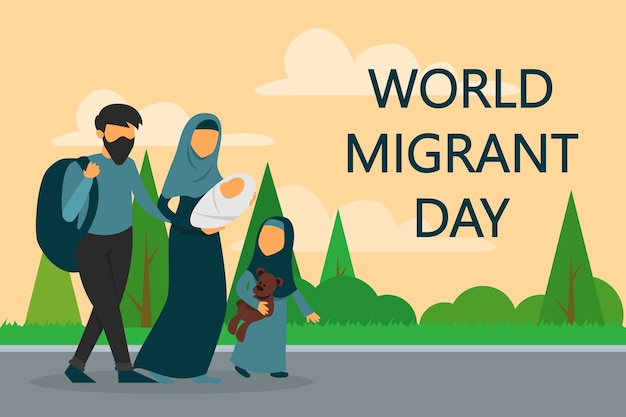 Refugee family walking on the road. world migrant day.