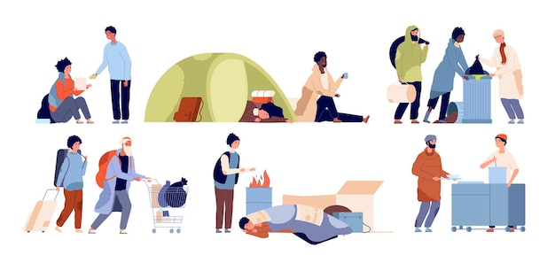Refugee problems. homeless mother, starvation poor people. isolated poverty guy vagabonds, social inequality and charity vector illustration. poor homeless, poverty social crisis