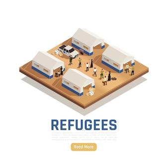 Fondo isometrico di asilo dei rifugiati con l'auto che ha consegnato aiuti umanitari nel campo per immigrati