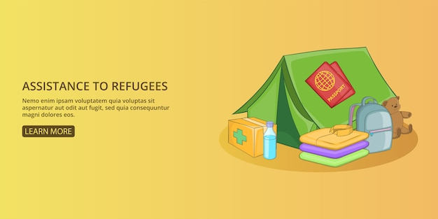 Refugees kit banner horizontal man, cartoon style