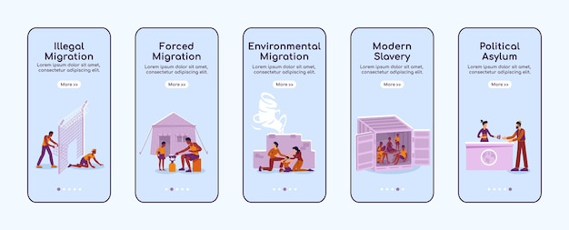 Refugees onboarding mobile app screen flat template. illegal and forced migration. walkthrough website steps with characters. ux, ui, gui smartphone cartoon interface, case prints set