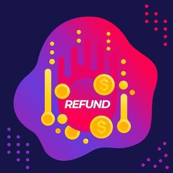 Refund offer vector banner for web