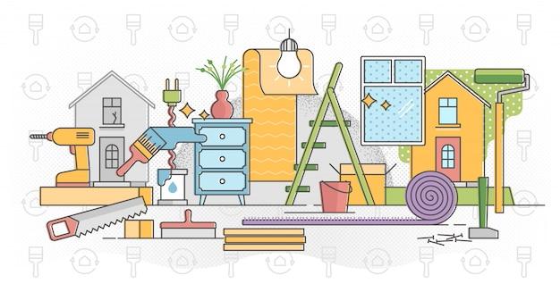 Восстановить домашний процесс иллюстрации в плоской красочной схеме