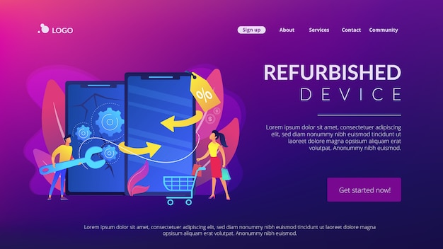 Refurbished device concept landing page.