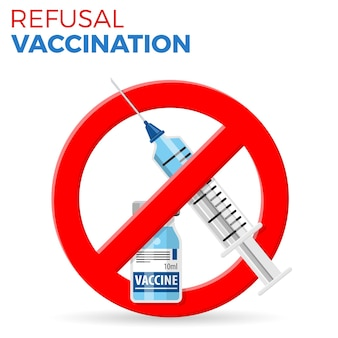 Refusal vaccination concept with sign stop icon plastic medical syringe and vial vaccine in flat style, concept stop vaccination, injection. isolated vector illustration