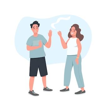 Отказ от сигарет мужской плоский цвет подробный персонаж