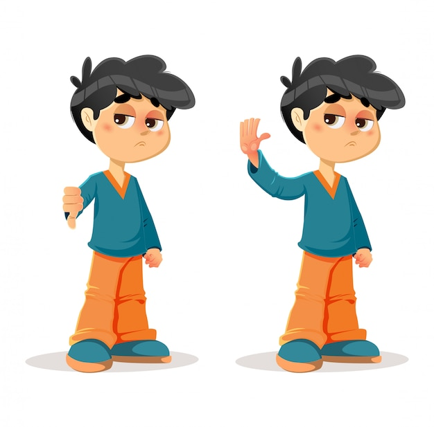 Refusing rejecting young boy expressions