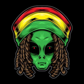 Reggae alien head illustration