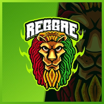 Регги лев талисман киберспорт дизайн логотипа иллюстрации вектор шаблон, логотип тигра для командной игры стример youtuber баннер дергаться раздор, полноцветный мультяшный стиль
