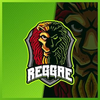 Регги лев силуэт талисман киберспорт дизайн логотипа иллюстрации вектор шаблон, логотип тигра для командной игры стример youtuber баннер дергаться раздор, полноцветный мультяшный стиль