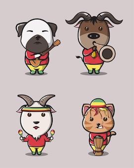 레게 매니아 로고, 마스코트, 포스터 및 사진을 위한 재미있는 세련된 흡연 개 고양이 염소