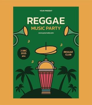 Reggae music party poster design template invitation for music festival vecto