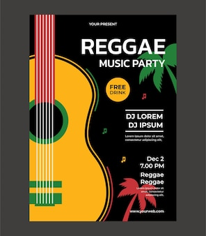 Reggae music party poster template poster design vector with place for your text