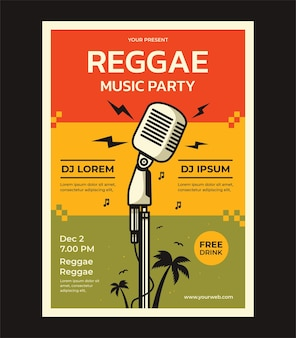 Reggae music party vector poster design template with place for your text