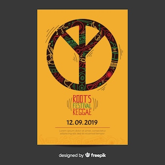 Reggae party flyer with peace sign