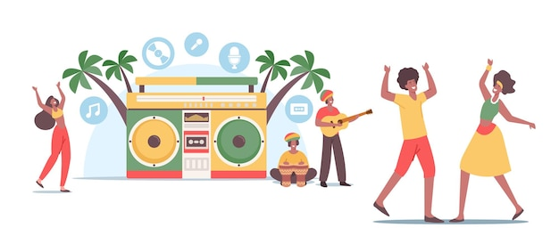 레게 파티. 자메이카 의상을 입은 작은 rasta 남성과 여성 캐릭터가 해변의 거대한 테이프 녹음기에서 춤을 추고 기타 또는 드럼 악기를 연주합니다. 피플 뮤직 펀. 만화 벡터 일러스트 레이 션