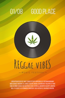 Reggae poster template with vinyl disc