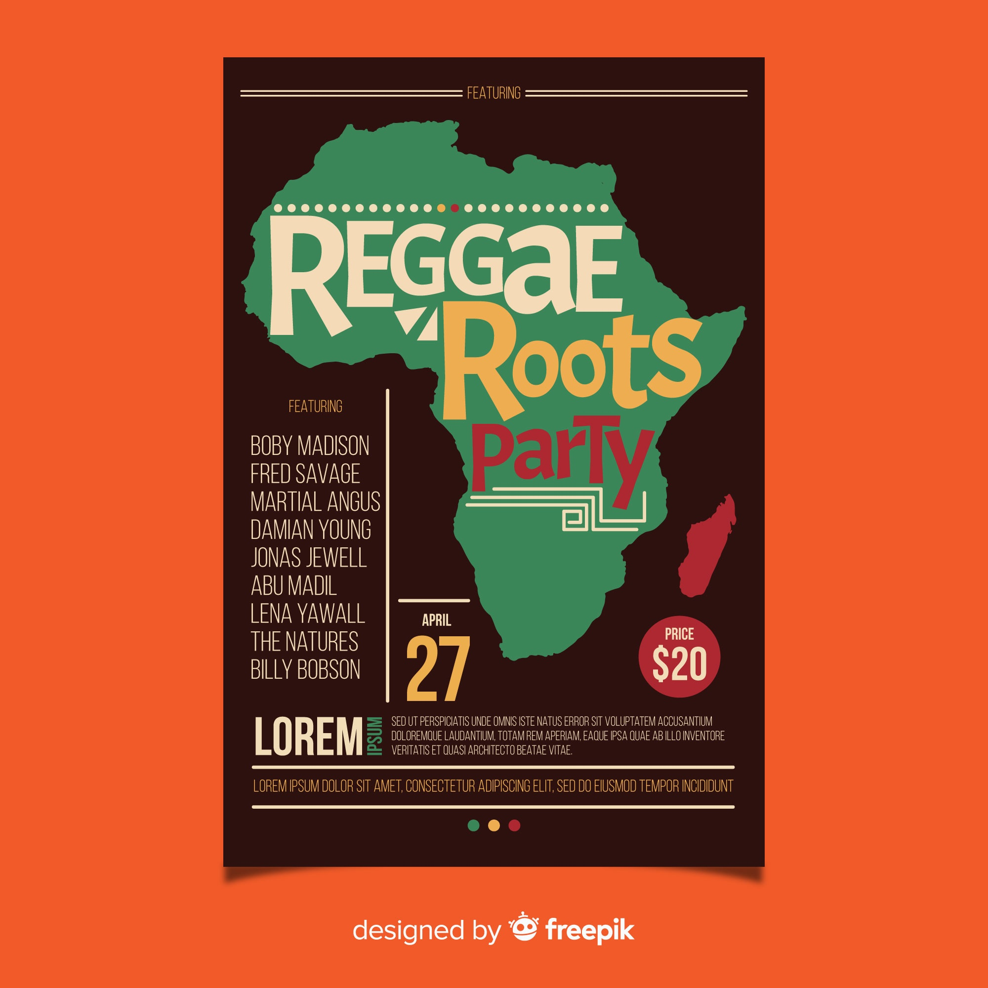 Reggae roots party flyer