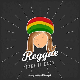 Reggae-style background with rastafari man