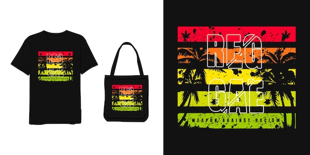 Reggae, t shirt and bag design red yellow green modern simple style