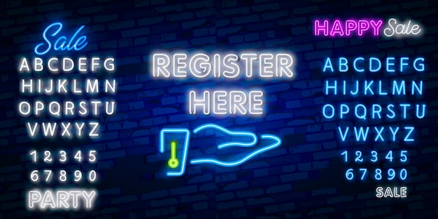 Register here neon sign. luminous signboard with colorful inscription. night bright advertisement.