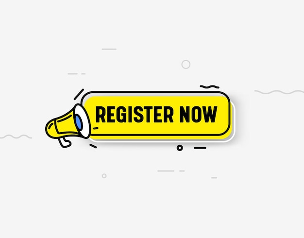 Register now isolated icon or banner, yellow megaphone, speech bubble and abstract elements. trendy style registration button ui design element for web site, subscribe, membership. vector illustration