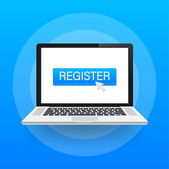 Register now with cursor button. internet icon. pointer click icon.