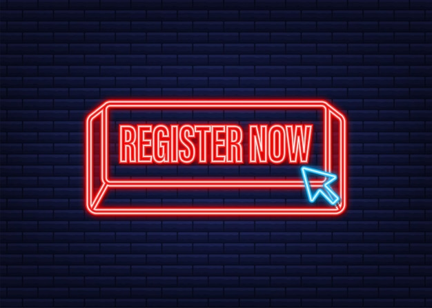 Register now with cursor button. internet neon icon. pointer click icon. vector stock illustration.
