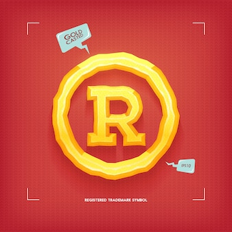 Registered trademark symbol. golden jewel typeface element. gold casted.  illustration.