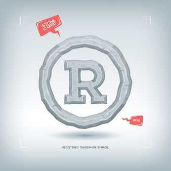 Registered trademark symbol. stone carved typeface element.  illustration.