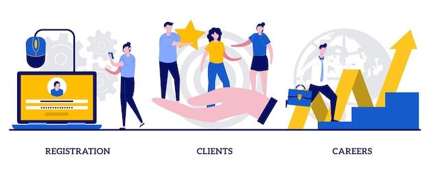 登録、クライアント、小さな人々とのキャリアコンセプト。インターネットショップインターフェイス抽象的なベクトルイラストセット。空席を空ける、従業員を雇う、サインアップする、オンラインストアの顧客注文の比喩。