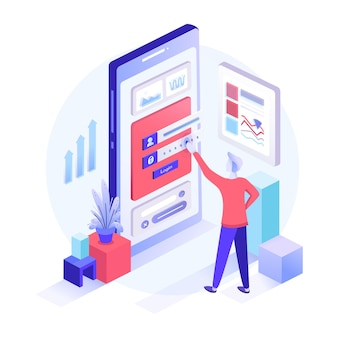 Registration form or login user interface. a man stands in front of inputted secure data which is displayed on big screen of the mobile phone. isometric flat  illustration for ui banner, app