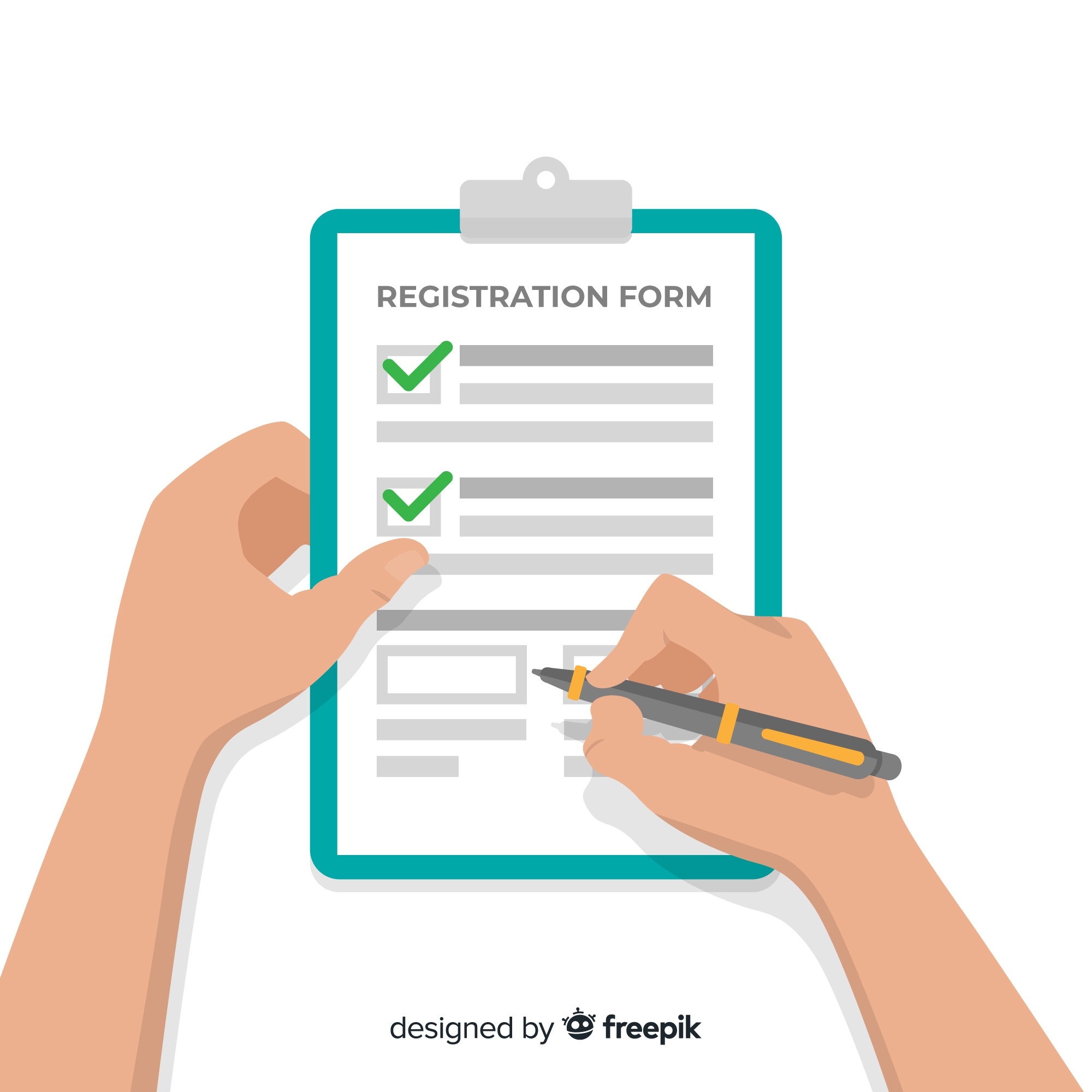 Registration form template with flat design