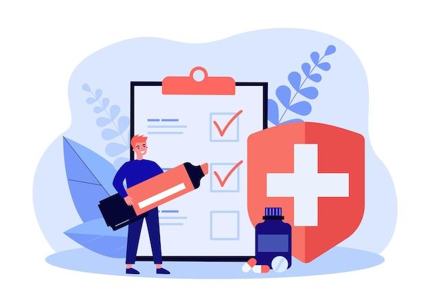 医療保険フラットベクトルイラストの登録。状態の巨大なリストの項目をマークする小さな男、マーカーで医療命令の履行。医学、保険、健康の概念