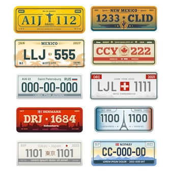 白で隔離された登録標識セット