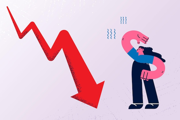 Regression, decreasing of income concept. young frustrated woman cartoon character standing with huge arrow down nearby to ground feeling confused vector illustration