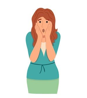후회하거나 당황한 여자 벡터 일러스트 레이 션 실망한 여자는 손 뒤에 얼굴을 숨기고 facepalm 제스처 또는 고립 된 부끄러운 표정을 보여줍니다