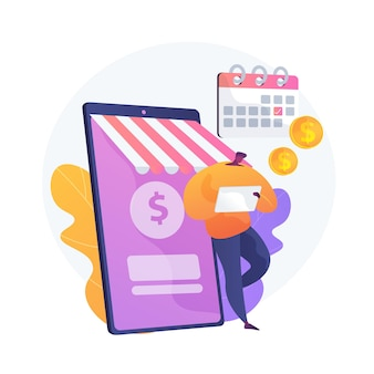 Regular money transfer, cash transaction, planned payment. online banking, remittance, personal account management. money addresser cartoon character. vector isolated concept metaphor illustration.