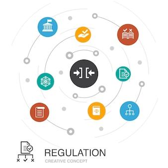 シンプルなアイコンで規制の色付きの円の概念。コンプライアンス、標準、ガイドライン、ルールなどの要素が含まれています