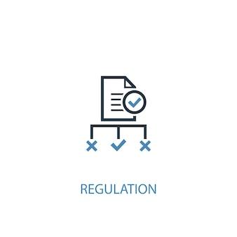 규정 개념 2 컬러 아이콘입니다. 간단한 파란색 요소 그림입니다. 규제 개념 기호 디자인입니다. 웹 및 모바일 ui/ux에 사용할 수 있습니다.