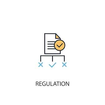 규정 개념 2 컬러 라인 아이콘입니다. 간단한 노란색과 파란색 요소 그림입니다. 규제 개념 개요 기호 디자인
