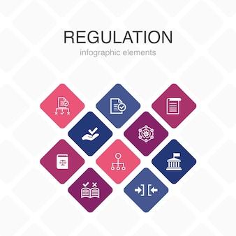 規制インフォグラフィック10オプションカラーdesign.compliance、標準、ガイドライン、ルールシンプルアイコン
