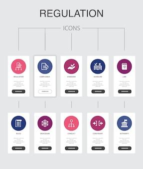 規制インフォグラフィック10ステップuidesign.compliance、標準、ガイドライン、ルールシンプルなアイコン