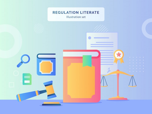 Regulation literate illustration set book hammer background of scale certified ribbon document contract with flat style.