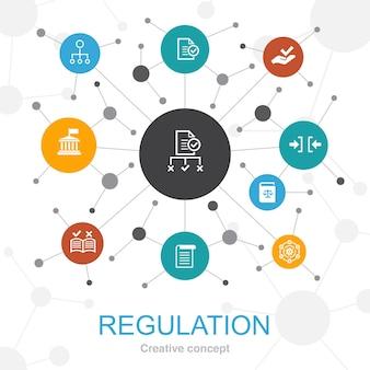 アイコンでトレンディなウェブコンセプトを規制します。コンプライアンス、標準、ガイドライン、ルールなどのアイコンが含まれています