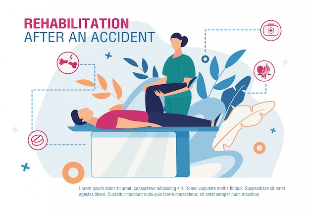Rehabilitation after accident advertising poster
