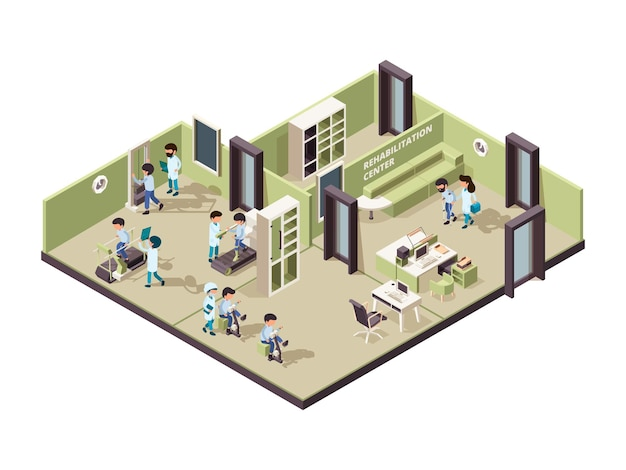 Rehabilitation clinic. nurse helping patient professional person treatment physical exercise for disabled  isometric interior.