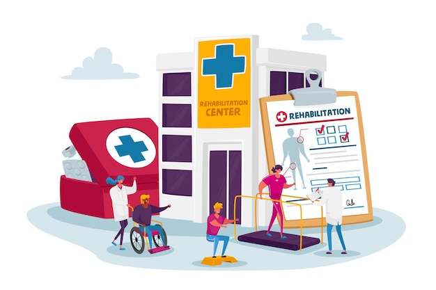 Rehabilitation concept with tiny characters at huge medic things. doctor push wheelchair with injured woman in rehab clinic