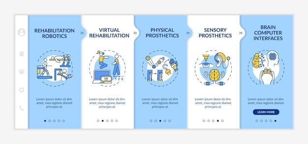 Rehabilitation engineering use onboarding vector template. responsive mobile website with icons. web page walkthrough 5 step screens. sensory prosthetics color concept with linear illustrations Premium Vector