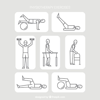 Rehabilitation exercise pack in linear style